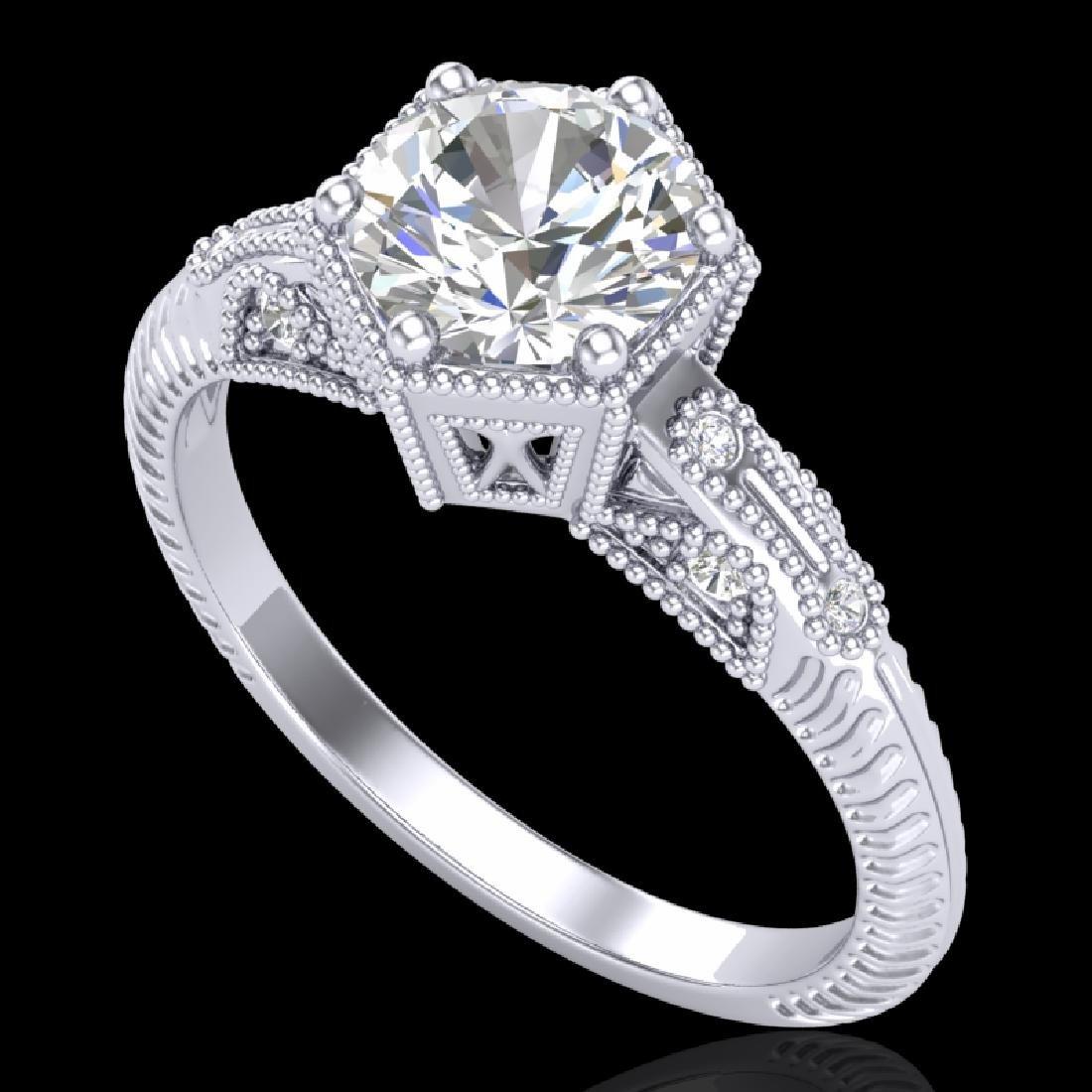1.17 CTW VS/SI Diamond Solitaire Art Deco Ring 18K
