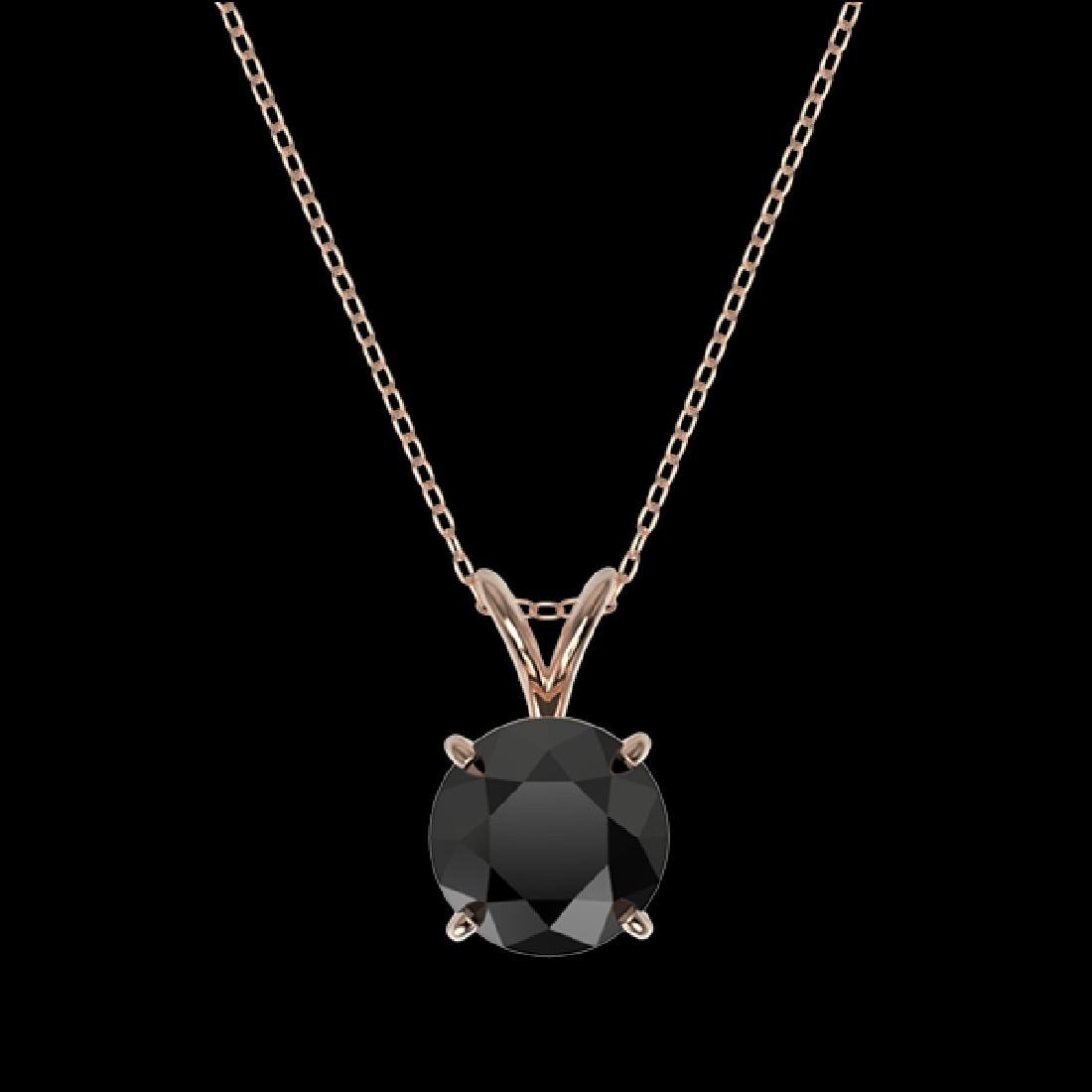 1.59 CTW Fancy Black VS Diamond Solitaire Necklace 10K - 2