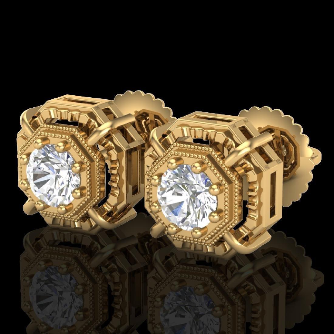 1.11 CTW VS/SI Diamond Solitaire Art Deco Stud Earrings