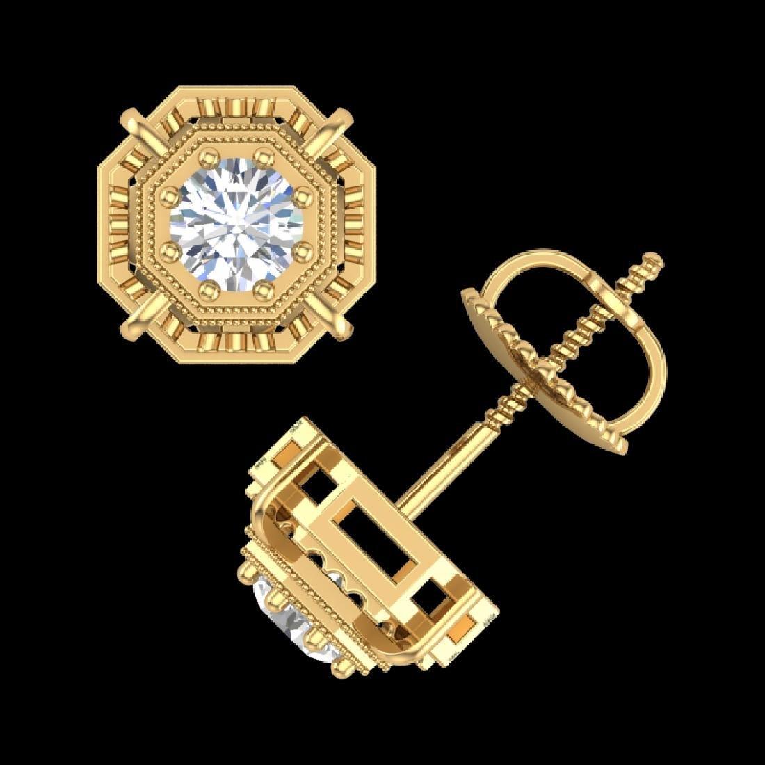 1.11 CTW VS/SI Diamond Solitaire Art Deco Stud Earrings - 3