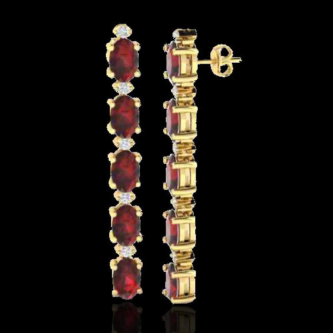 6 CTW Garnet & VS/SI Diamond Tennis Earrings 10K Yellow - 2