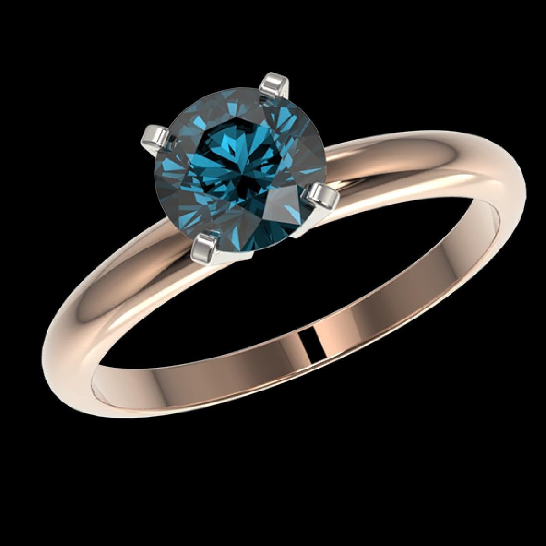 1.29 CTW Certified Intense Blue SI Diamond Solitaire - 2