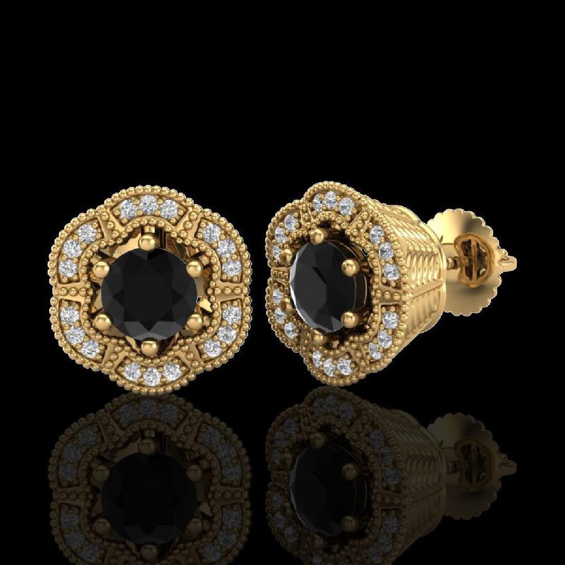 1.51 CTW Fancy Black Diamond Solitaire Art Deco Stud - 2