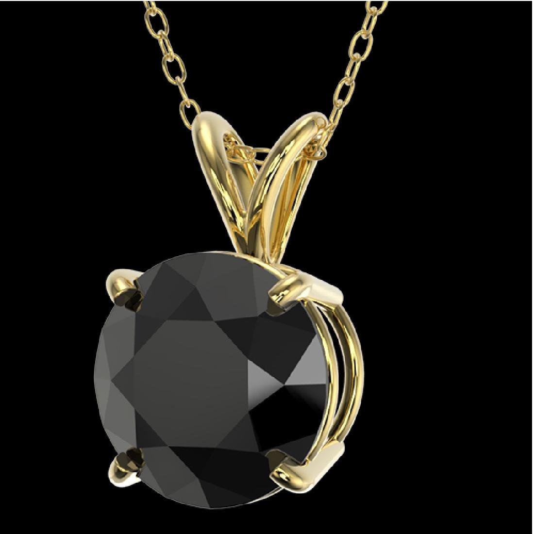 2 CTW Fancy Black VS Diamond Solitaire Necklace 10K - 2