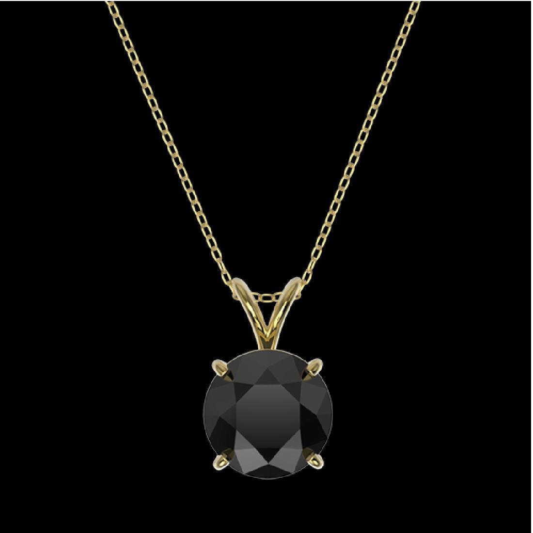 2 CTW Fancy Black VS Diamond Solitaire Necklace 10K - 3