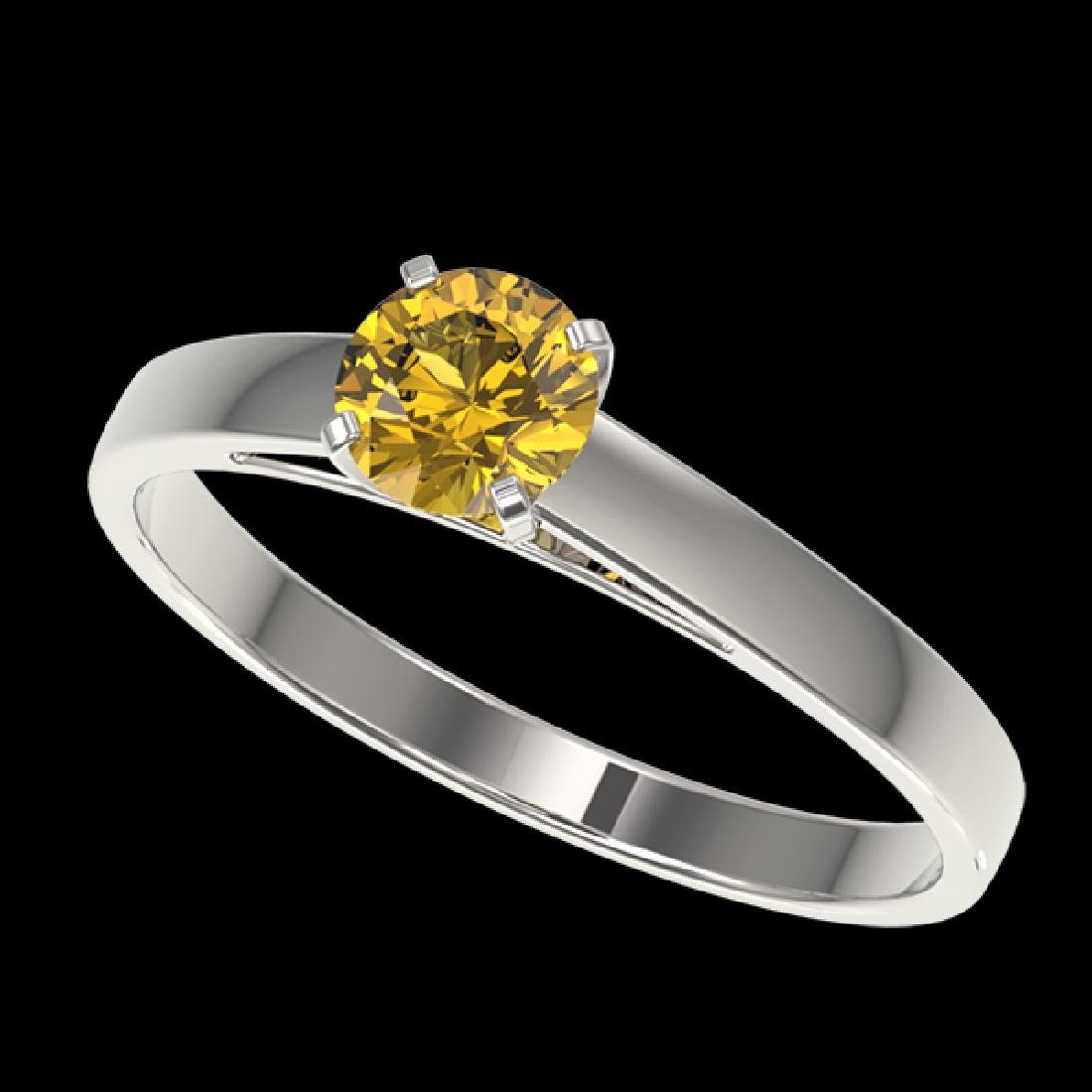 0.54 CTW Certified Intense Yellow SI Diamond Solitaire