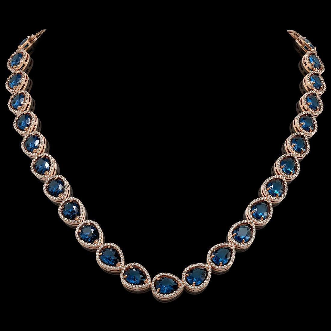 44.8 CTW London Topaz & Diamond Halo Necklace 10K Rose
