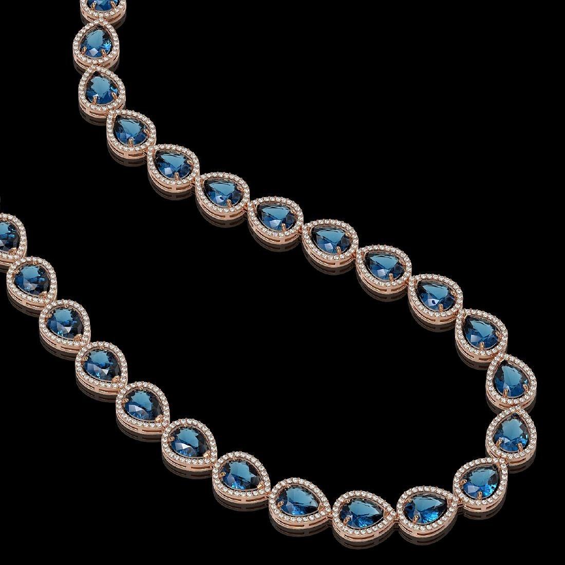 44.8 CTW London Topaz & Diamond Halo Necklace 10K Rose - 2