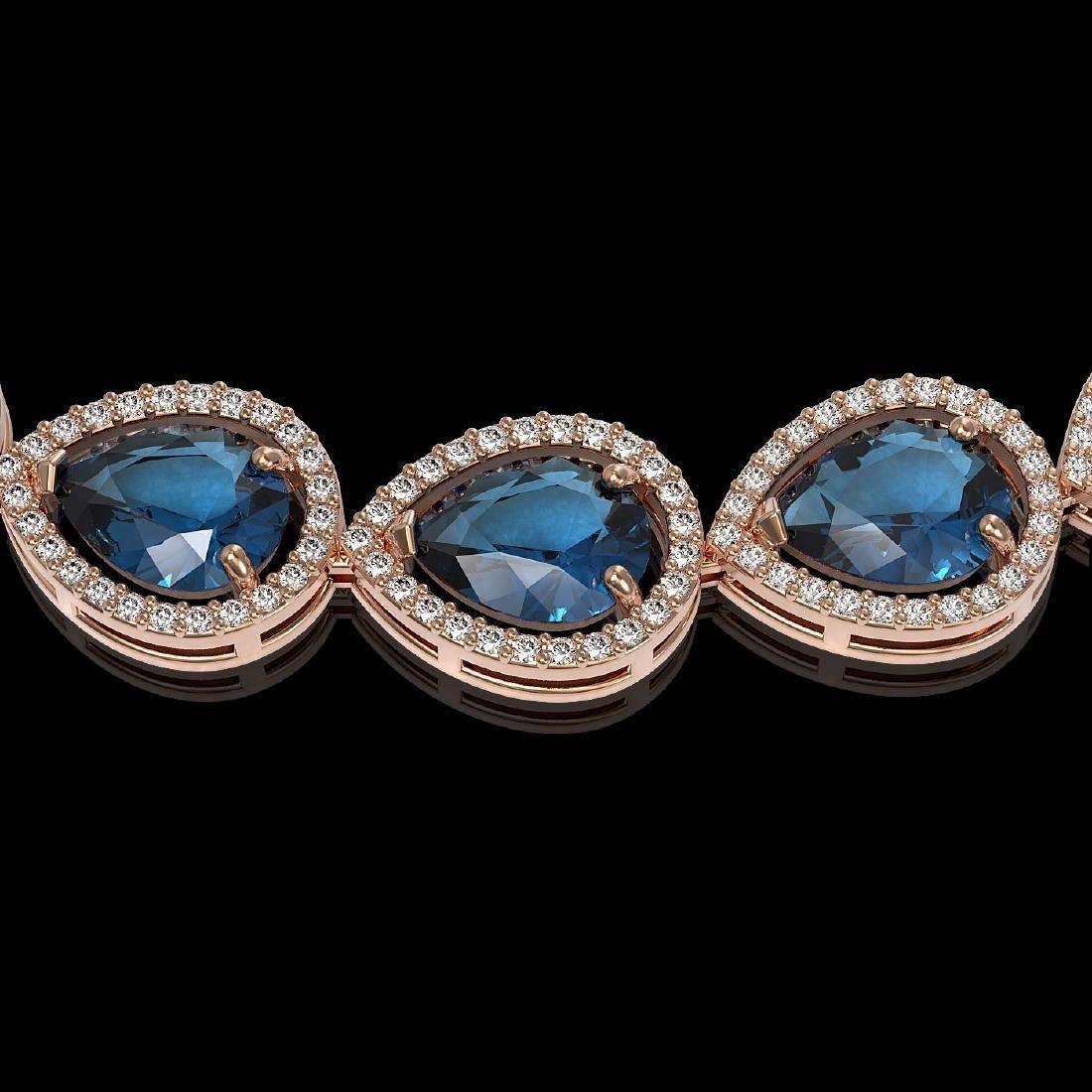 44.8 CTW London Topaz & Diamond Halo Necklace 10K Rose - 3