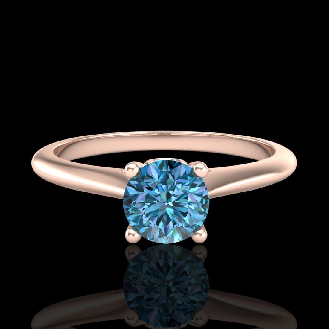0.56 CTW Fancy Intense Blue Diamond Solitaire Art Deco - 2