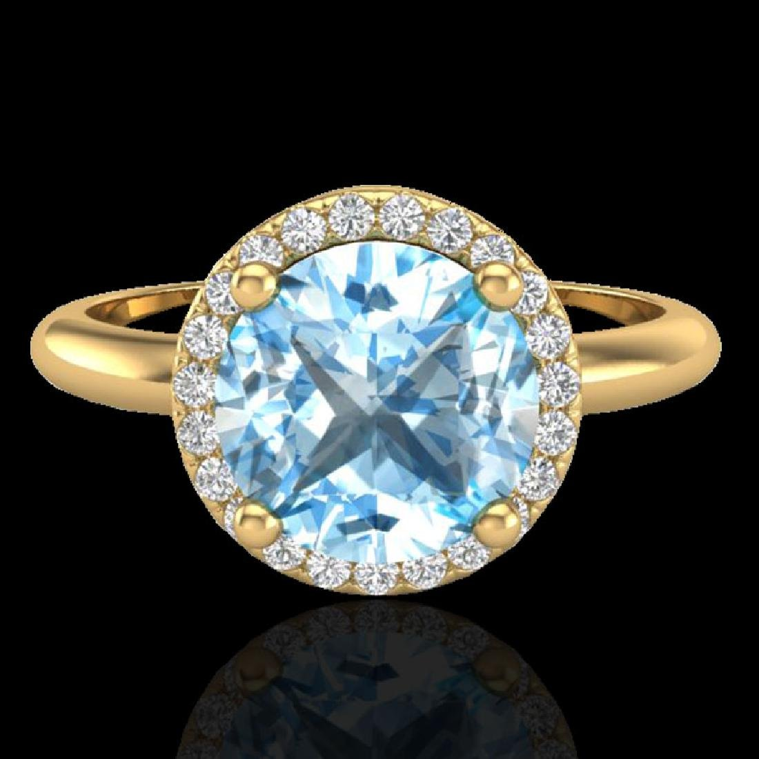 2.70 CTW Sky Blue Topaz & Micro VS/SI Diamond Ring