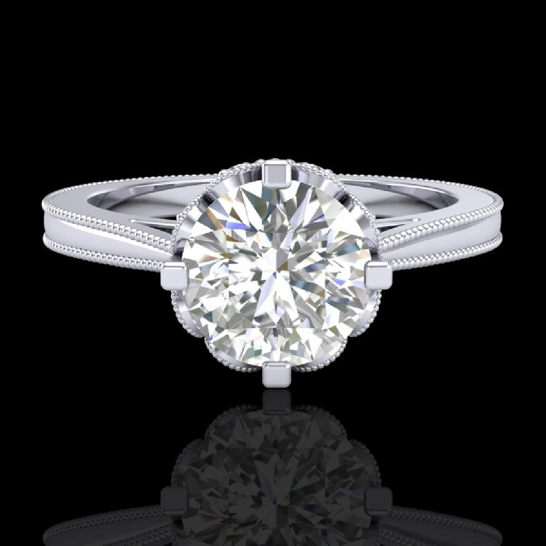 1.5 CTW VS/SI Diamond Art Deco Ring 18K White Gold - 2