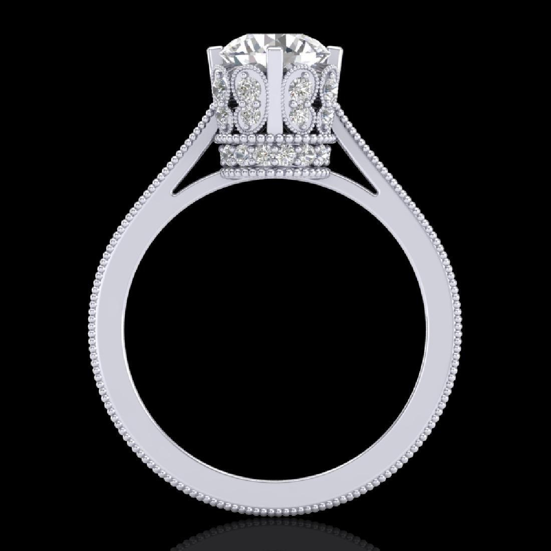 1.5 CTW VS/SI Diamond Art Deco Ring 18K White Gold - 3