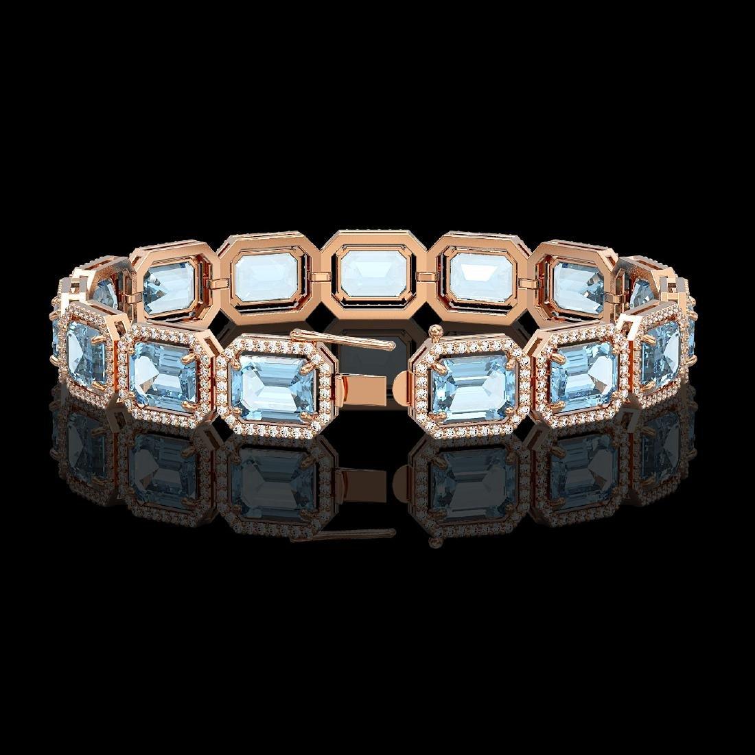 36.81 CTW Aquamarine & Diamond Halo Bracelet 10K Rose - 2