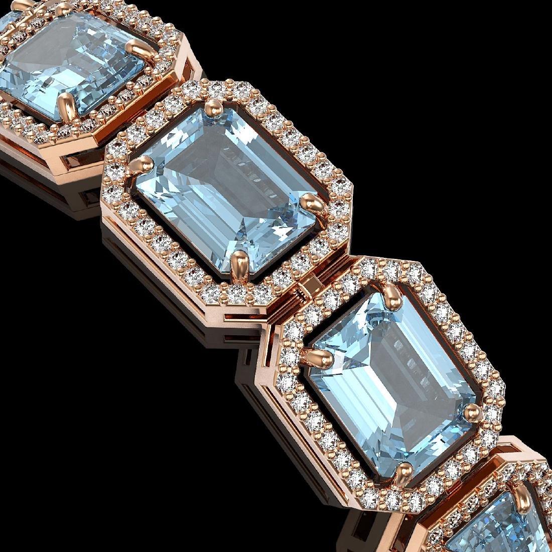 36.81 CTW Aquamarine & Diamond Halo Bracelet 10K Rose - 3