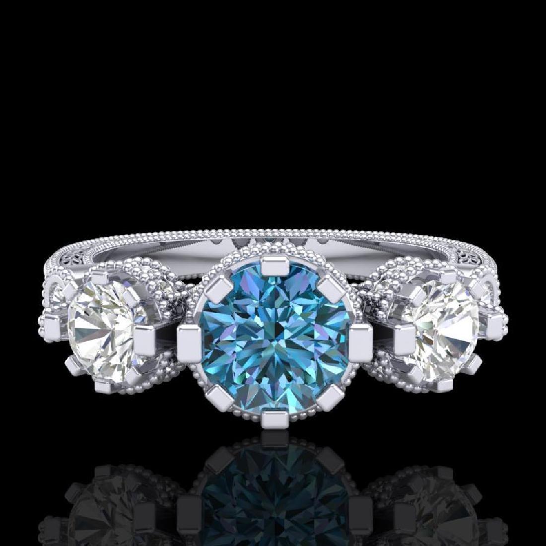 1.75 CTW Intense Blue Diamond Solitaire Art Deco 3 - 2