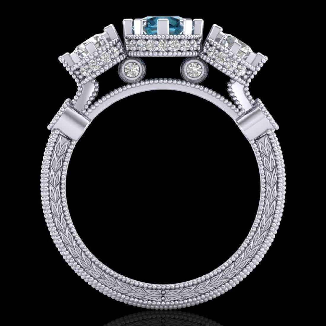 1.75 CTW Intense Blue Diamond Solitaire Art Deco 3 - 3