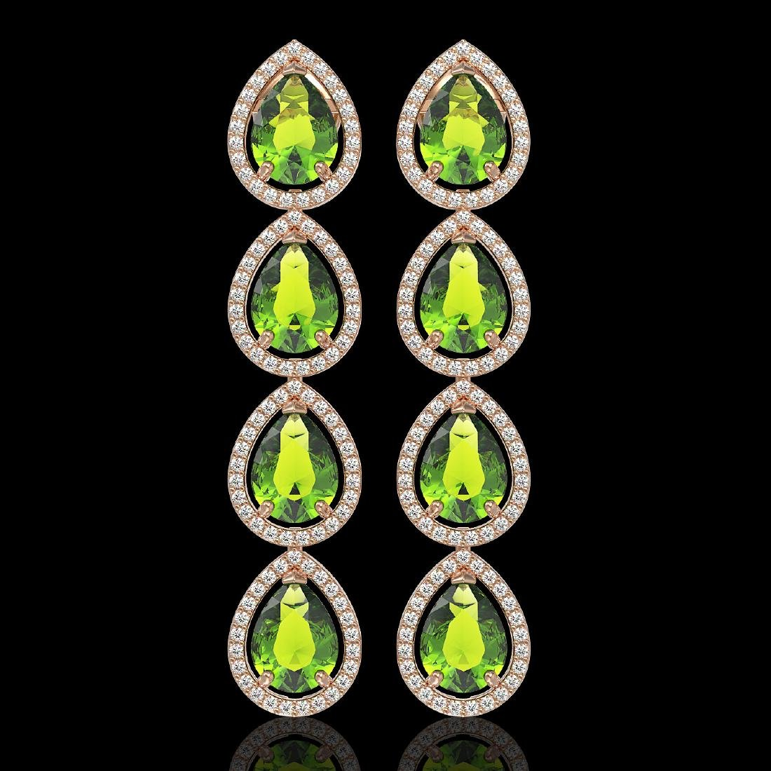 8.4 CTW Peridot & Diamond Halo Earrings 10K Rose Gold