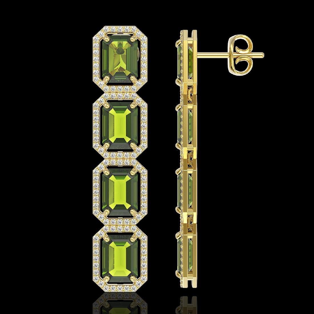 19.44 CTW Tourmaline & Diamond Halo Earrings 10K Yellow - 2