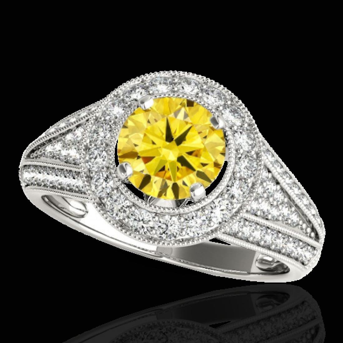 1.7 CTW Certified SI/I Fancy Intense Yellow Diamond