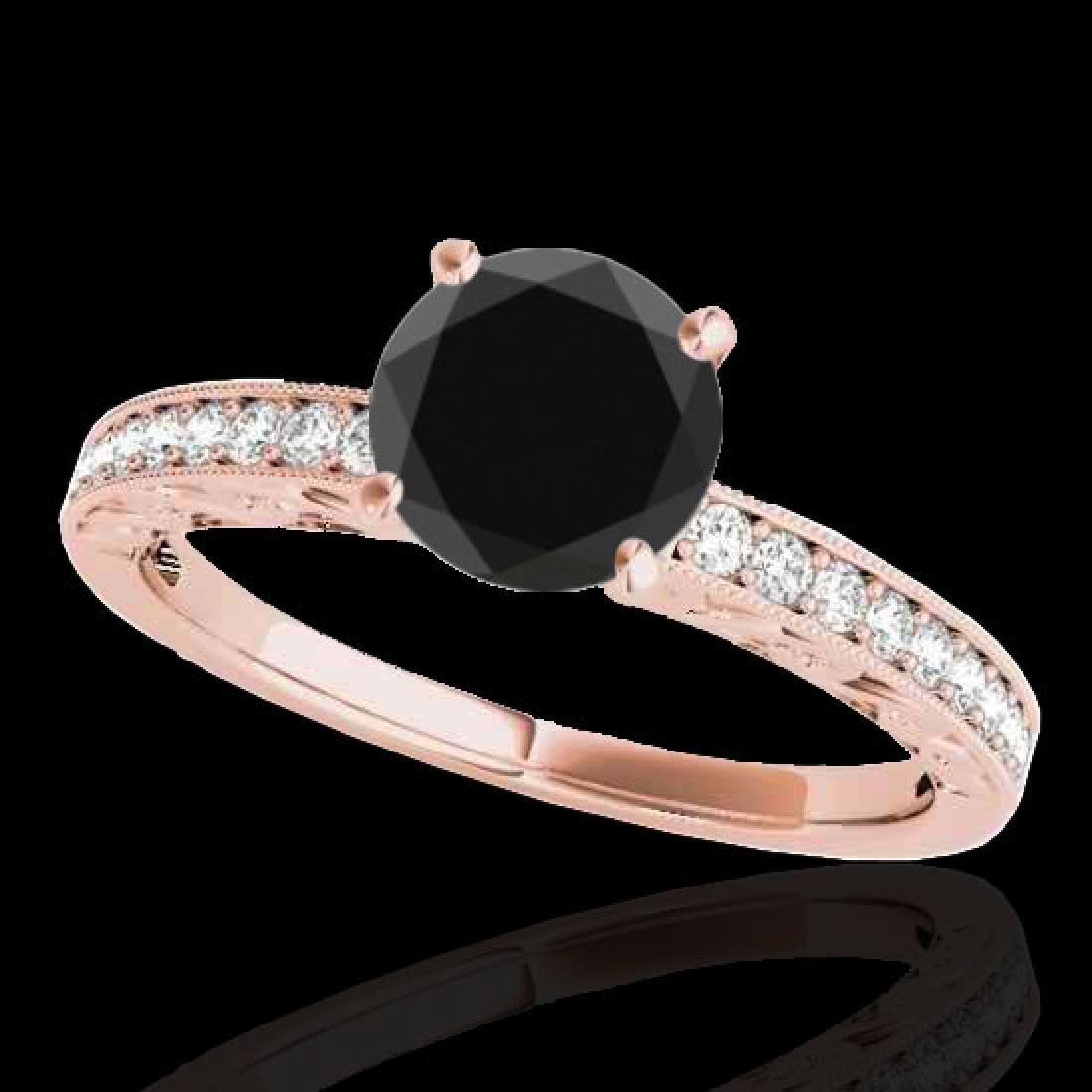1.43 CTW Certified VS Black Diamond Solitaire Antique