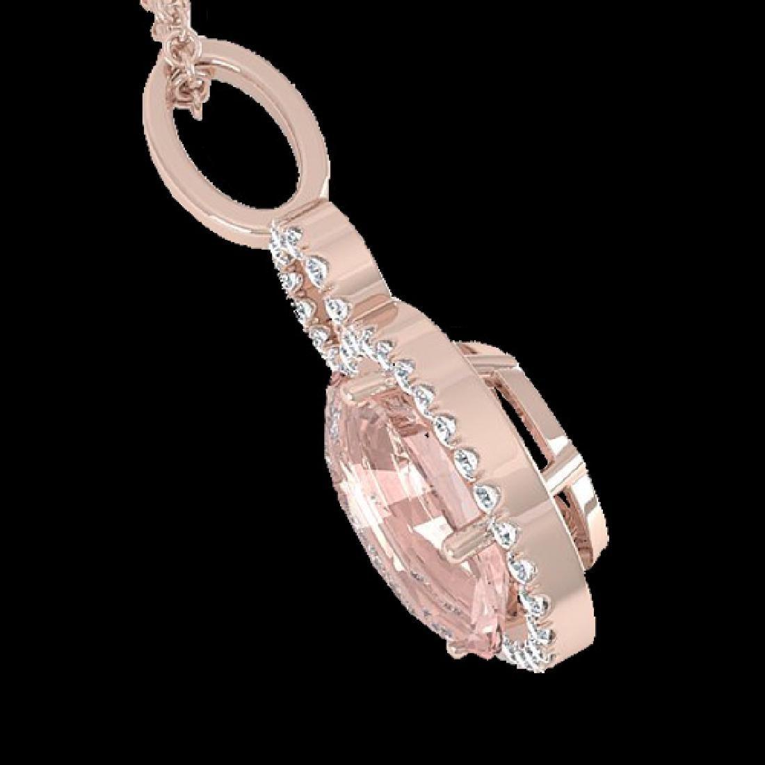 3.50 CTW Morganite & Micro Halo VS/SI Diamond Necklace - 2