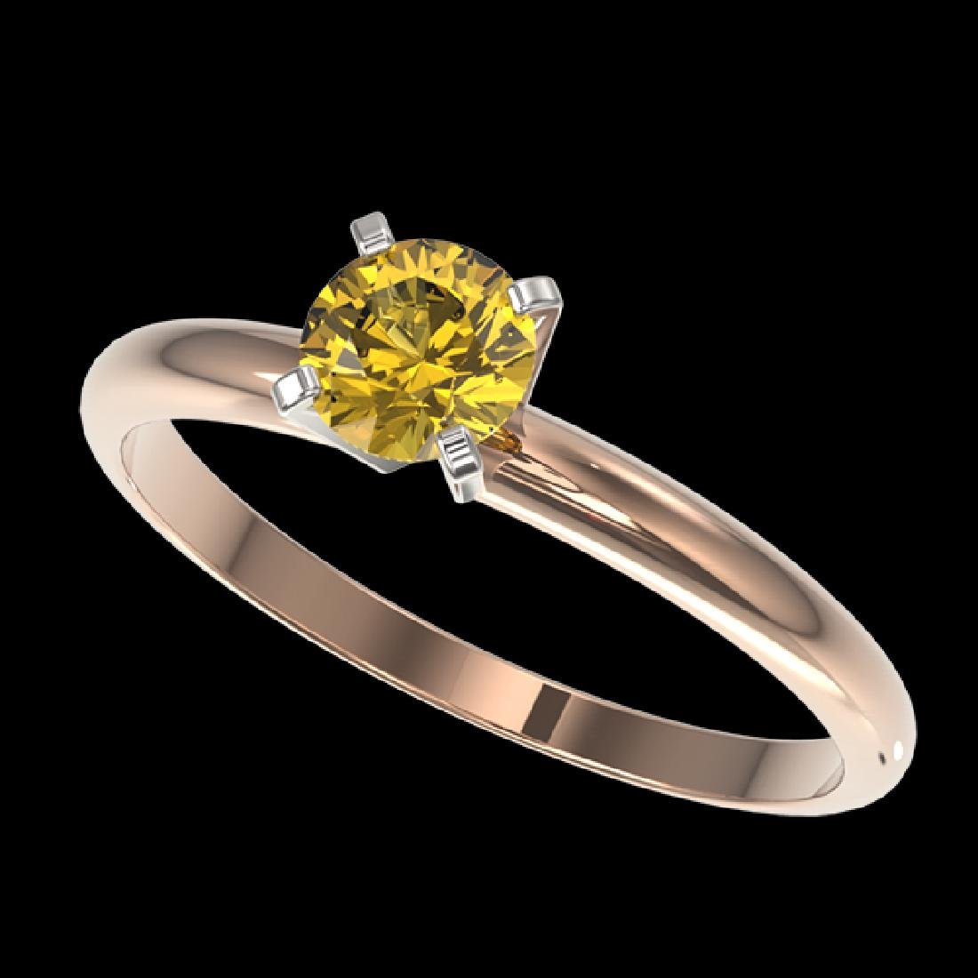 0.55 CTW Certified Intense Yellow SI Diamond Solitaire