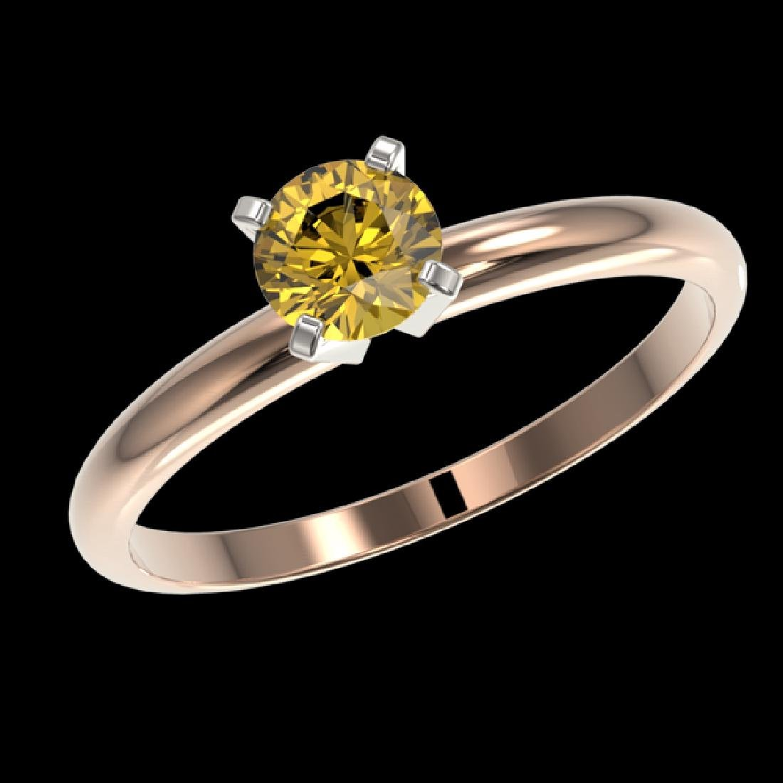 0.55 CTW Certified Intense Yellow SI Diamond Solitaire - 2