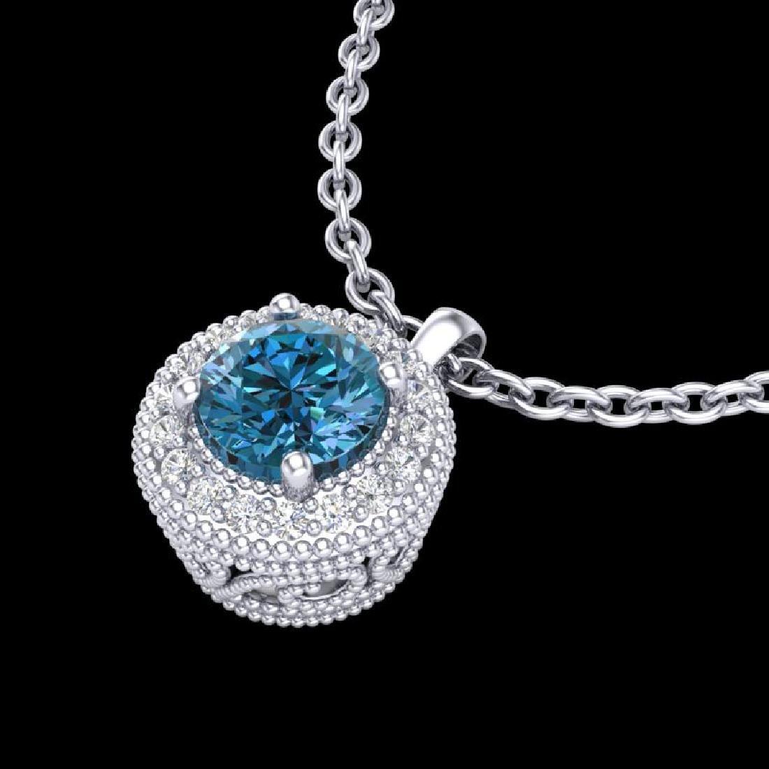 1 CTW Intense Blue Diamond Solitaire Art Deco Stud - 2