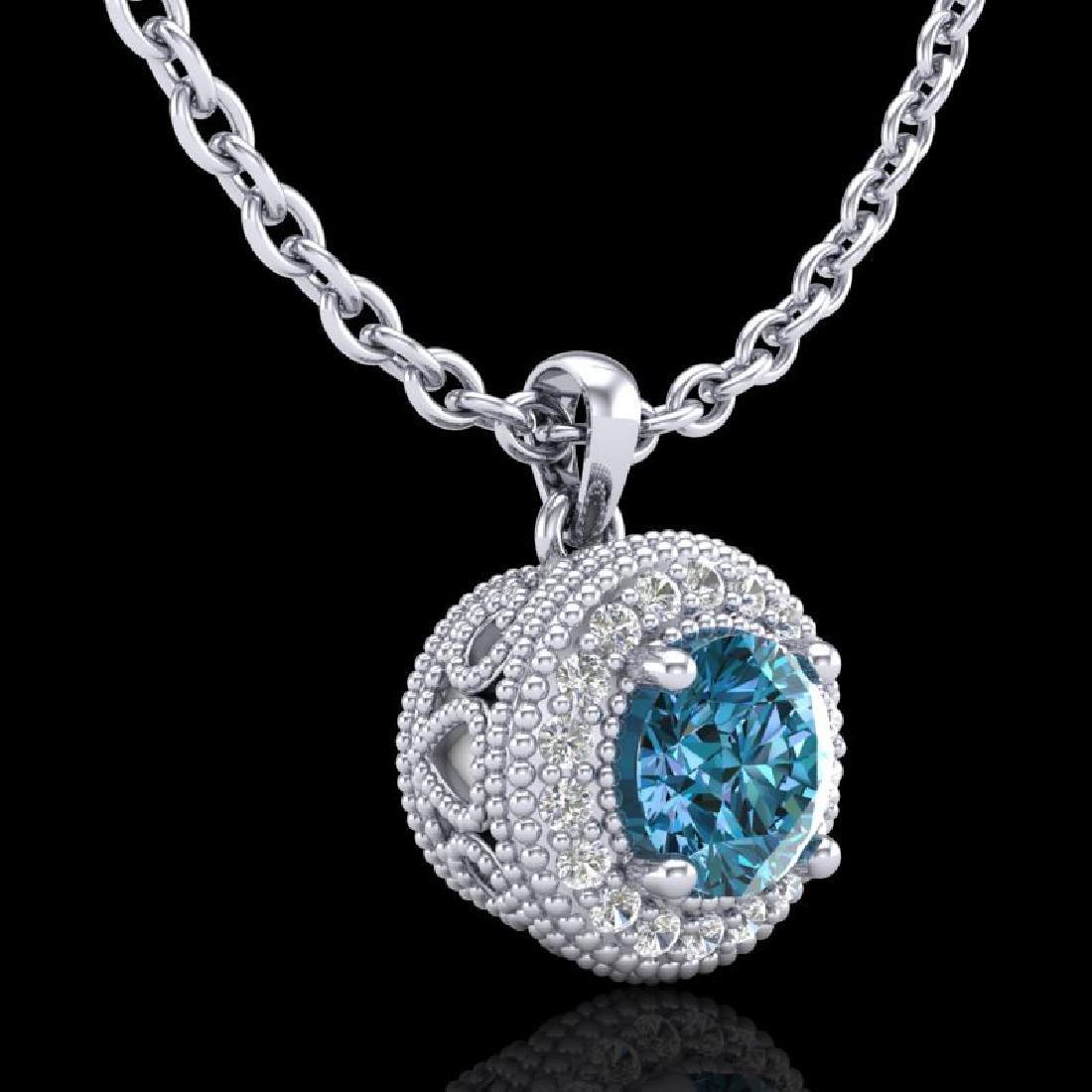 1 CTW Intense Blue Diamond Solitaire Art Deco Stud - 3