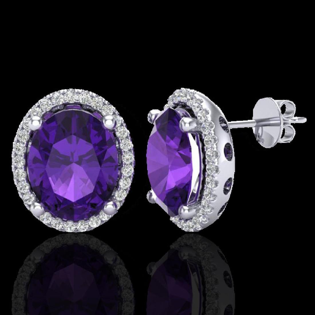 5 CTW Amethyst & Micro Pave VS/SI Diamond Earrings Halo - 2