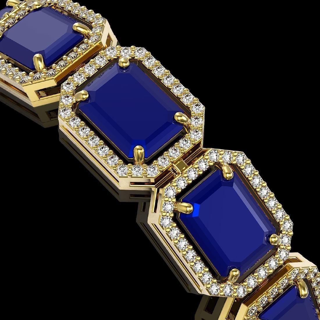 38.61 CTW Sapphire & Diamond Halo Bracelet 10K Yellow - 3