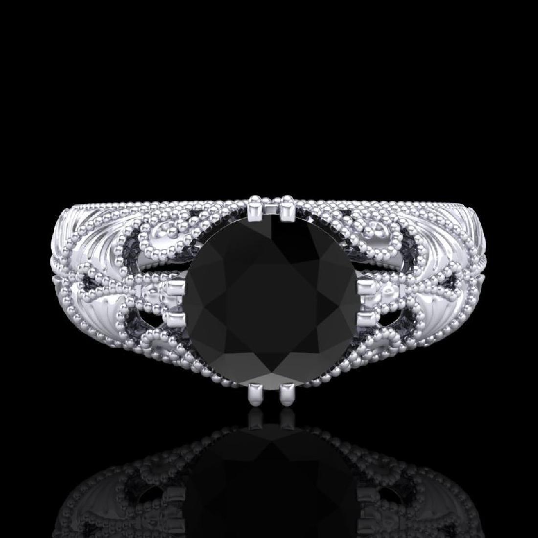 1 CTW Fancy Black Diamond Solitaire Engagement Art Deco - 2