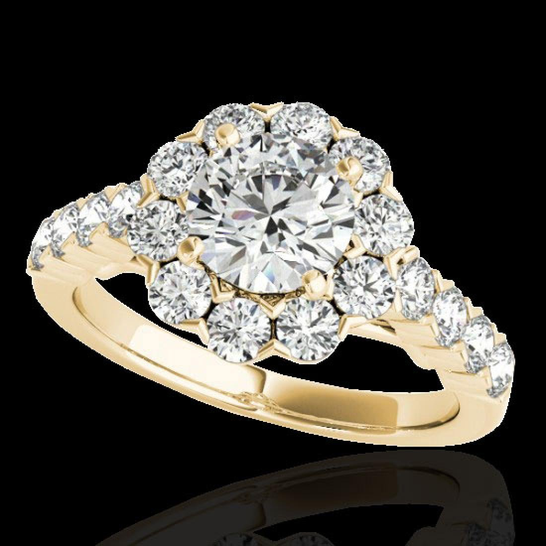 3 CTW H-SI/I Certified Diamond Solitaire Halo Ring 10K