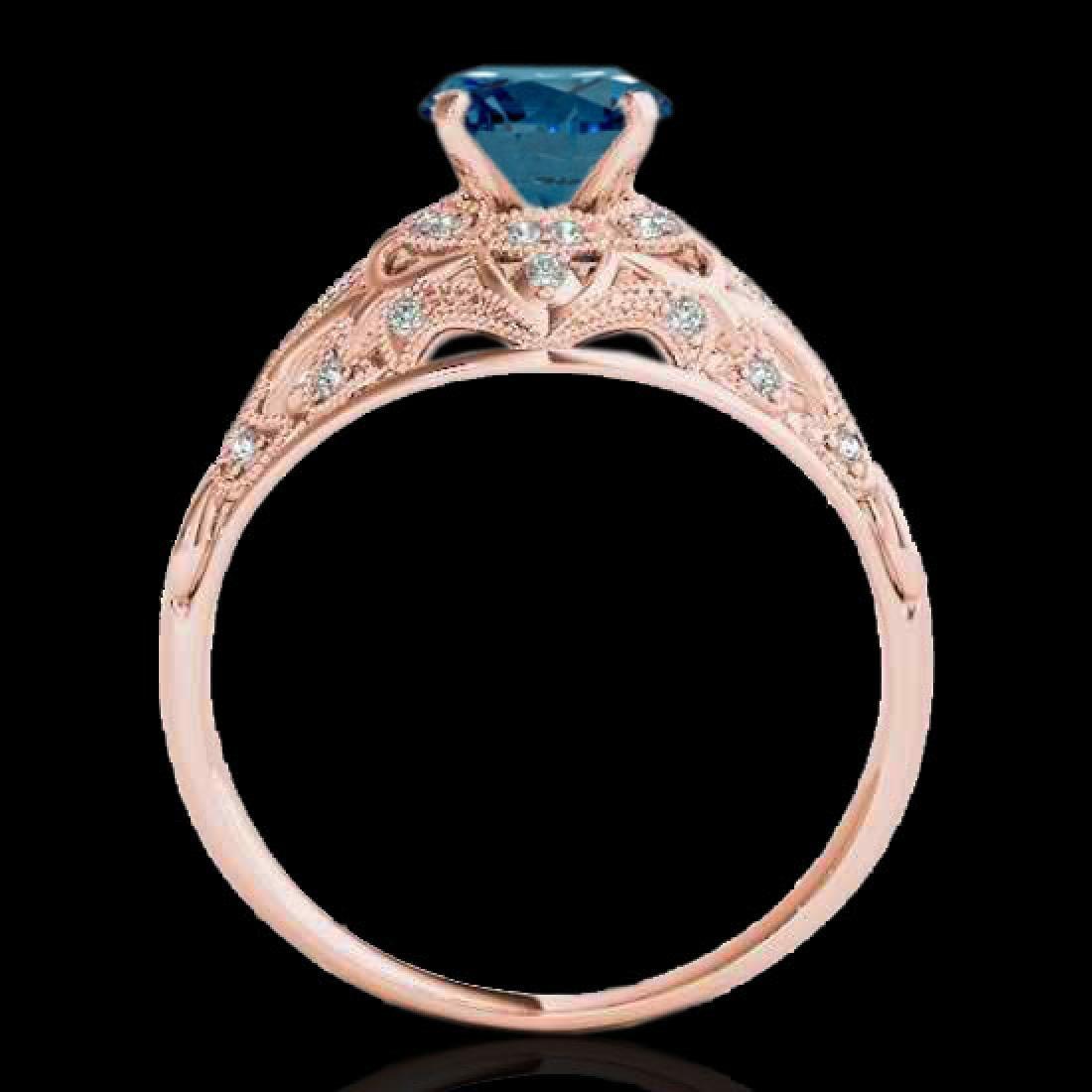 1.36 CTW SI Certified Blue Diamond Solitaire Antique - 2
