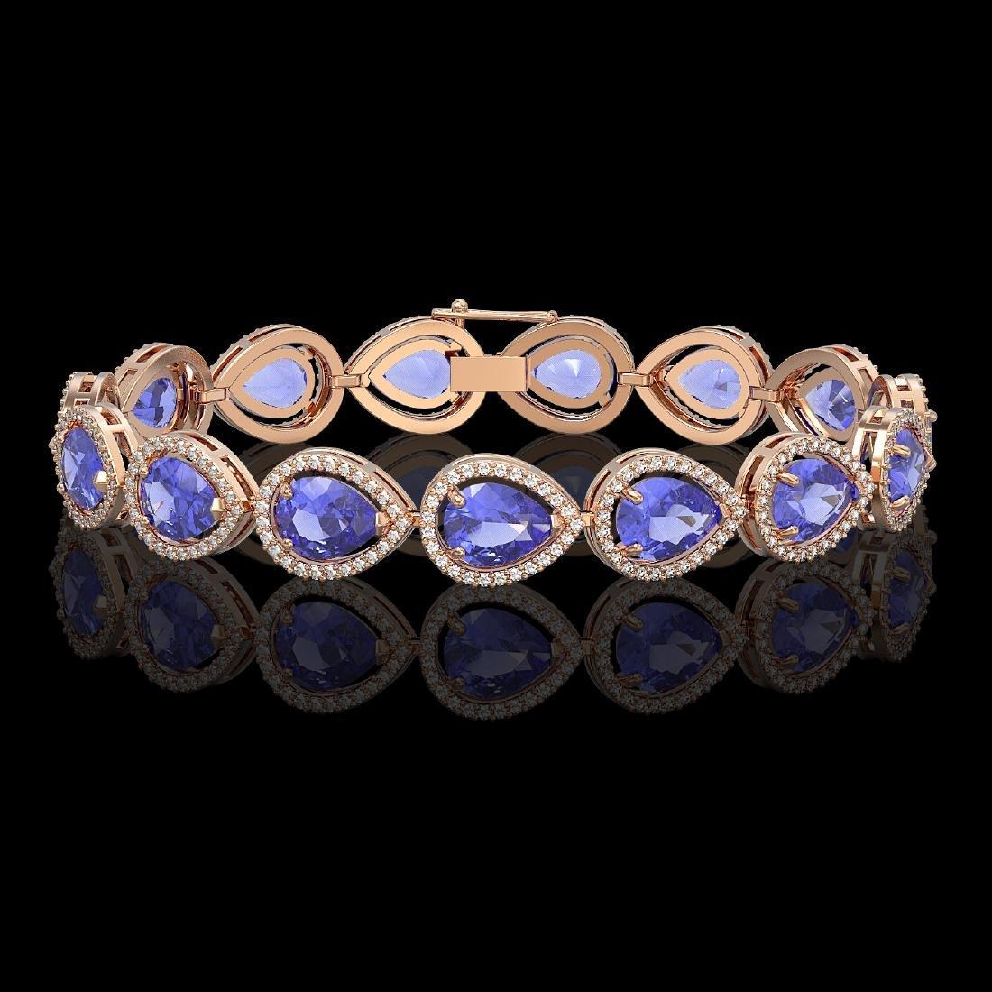 21.06 CTW Tanzanite & Diamond Halo Bracelet 10K Rose