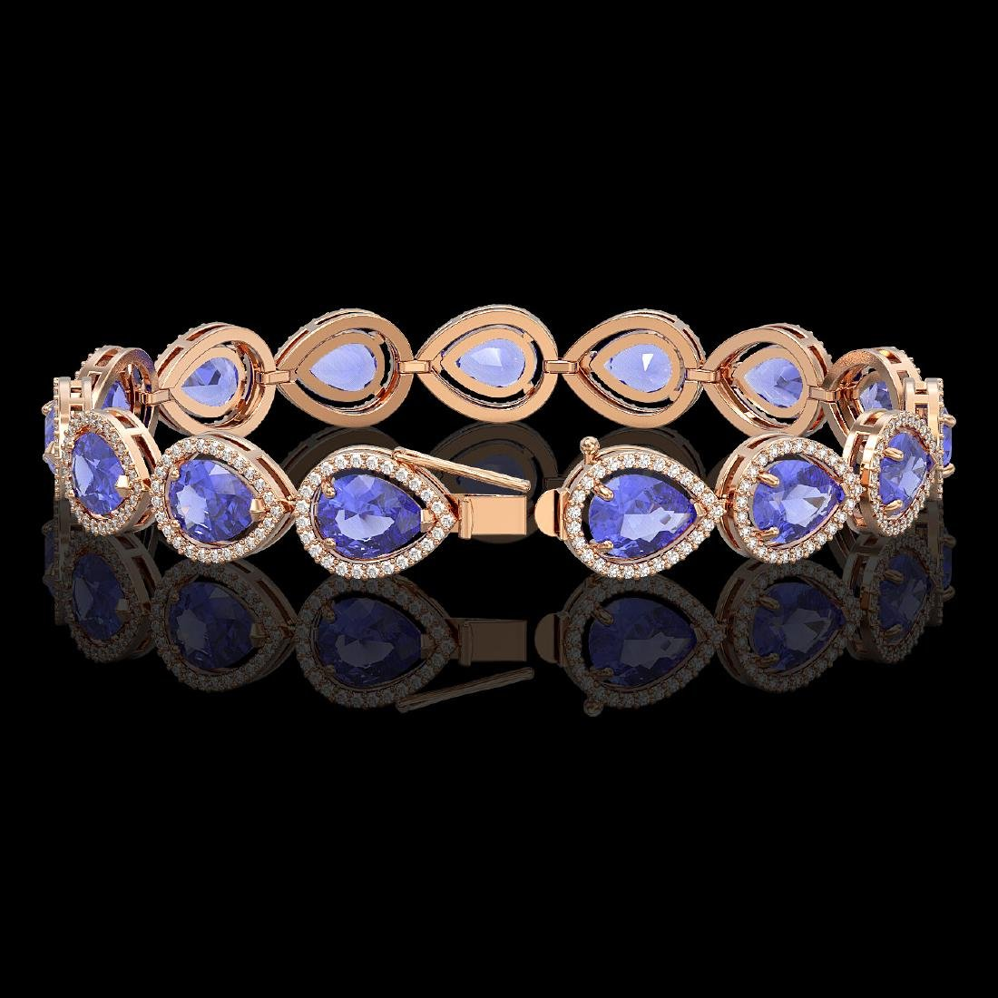 21.06 CTW Tanzanite & Diamond Halo Bracelet 10K Rose - 2