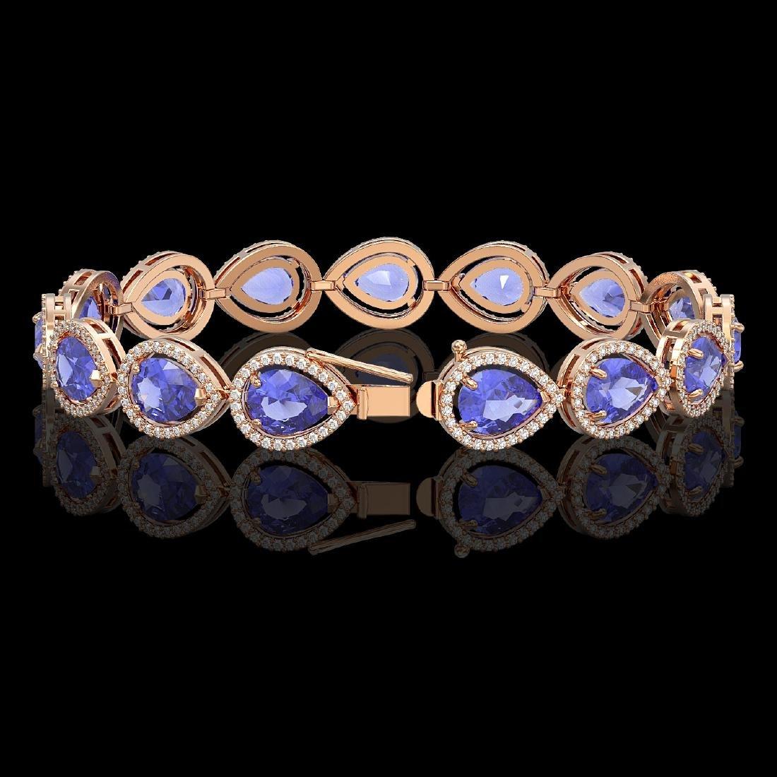 21.06 CTW Tanzanite & Diamond Halo Bracelet 10K Rose - 2