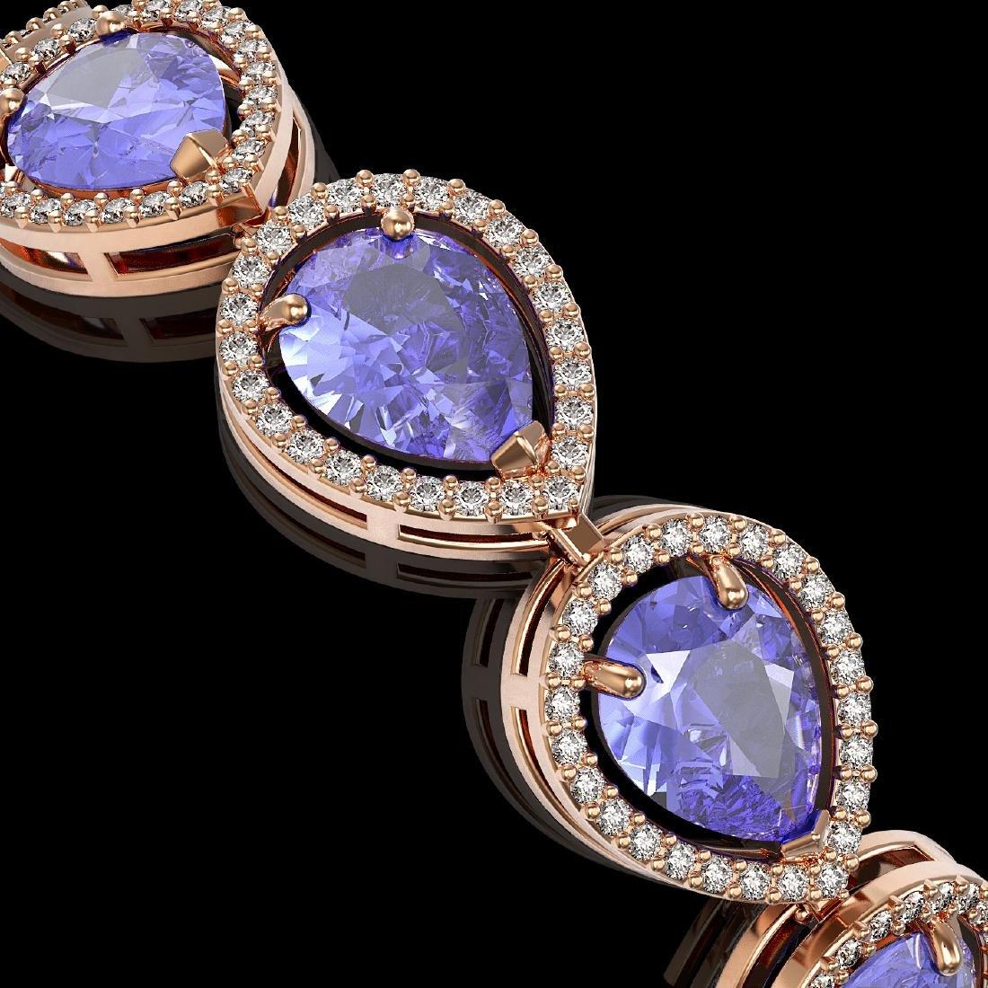 21.06 CTW Tanzanite & Diamond Halo Bracelet 10K Rose - 3
