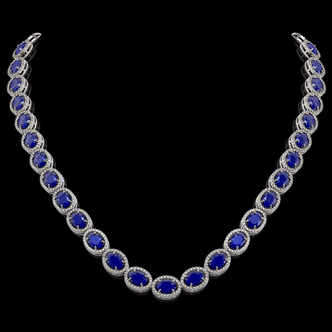 52.15 CTW Sapphire & Diamond Halo Necklace 10K White