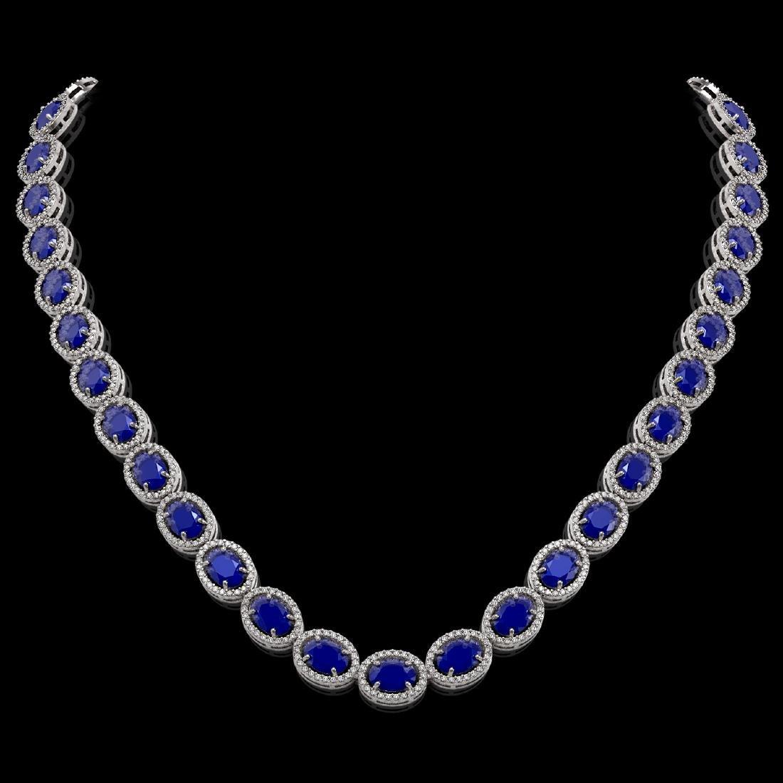 52.15 CTW Sapphire & Diamond Halo Necklace 10K White