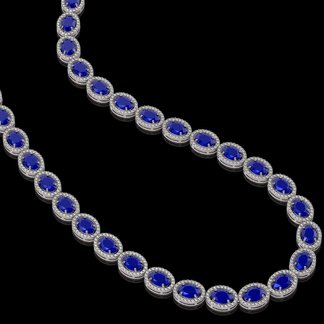 52.15 CTW Sapphire & Diamond Halo Necklace 10K White - 2