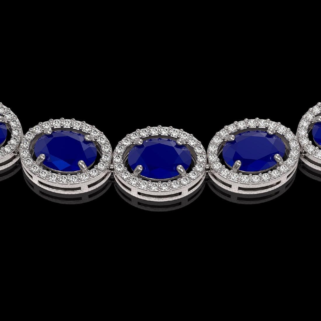 52.15 CTW Sapphire & Diamond Halo Necklace 10K White - 3