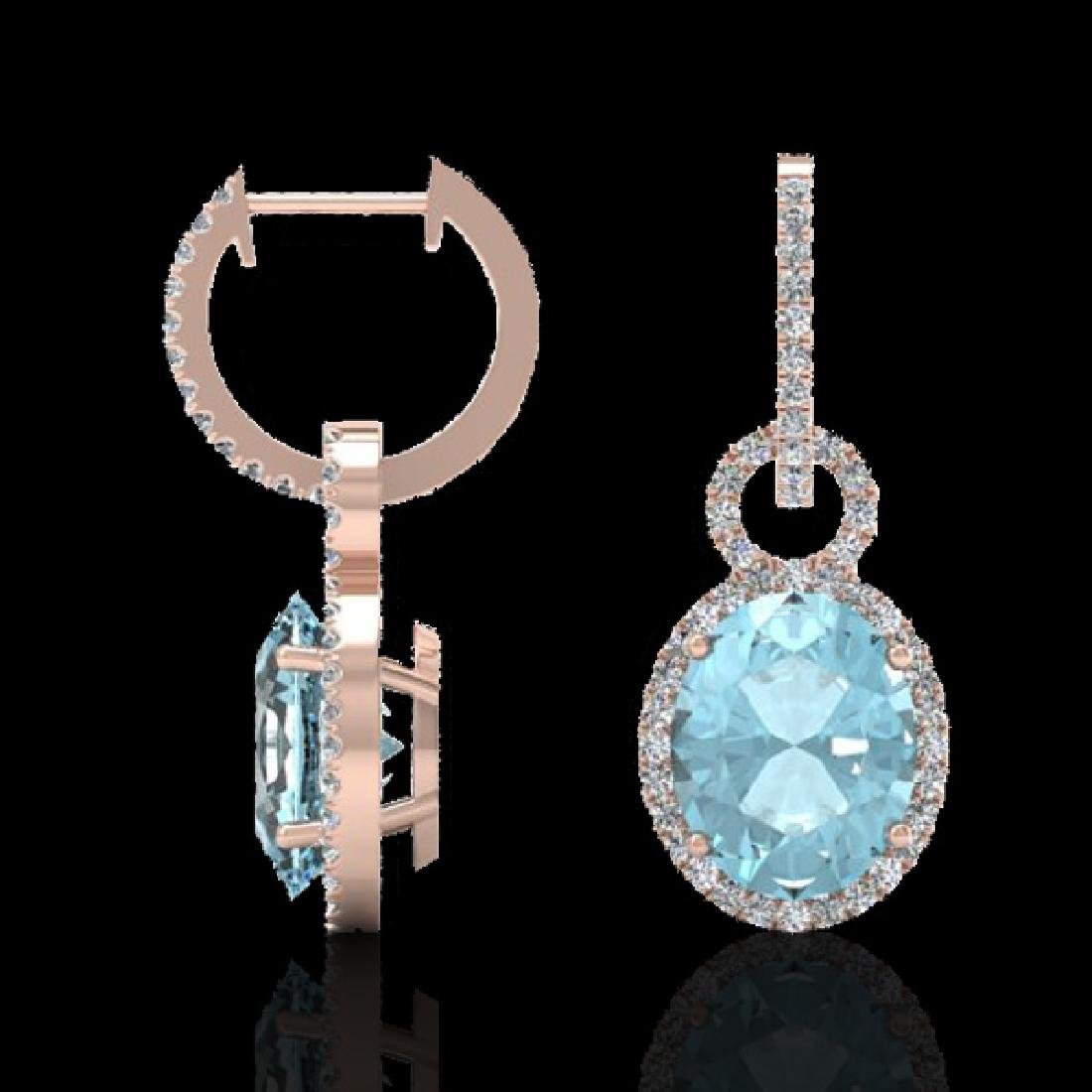 6 CTW Aquamarine & Micro Pave Halo VS/SI Diamond - 2