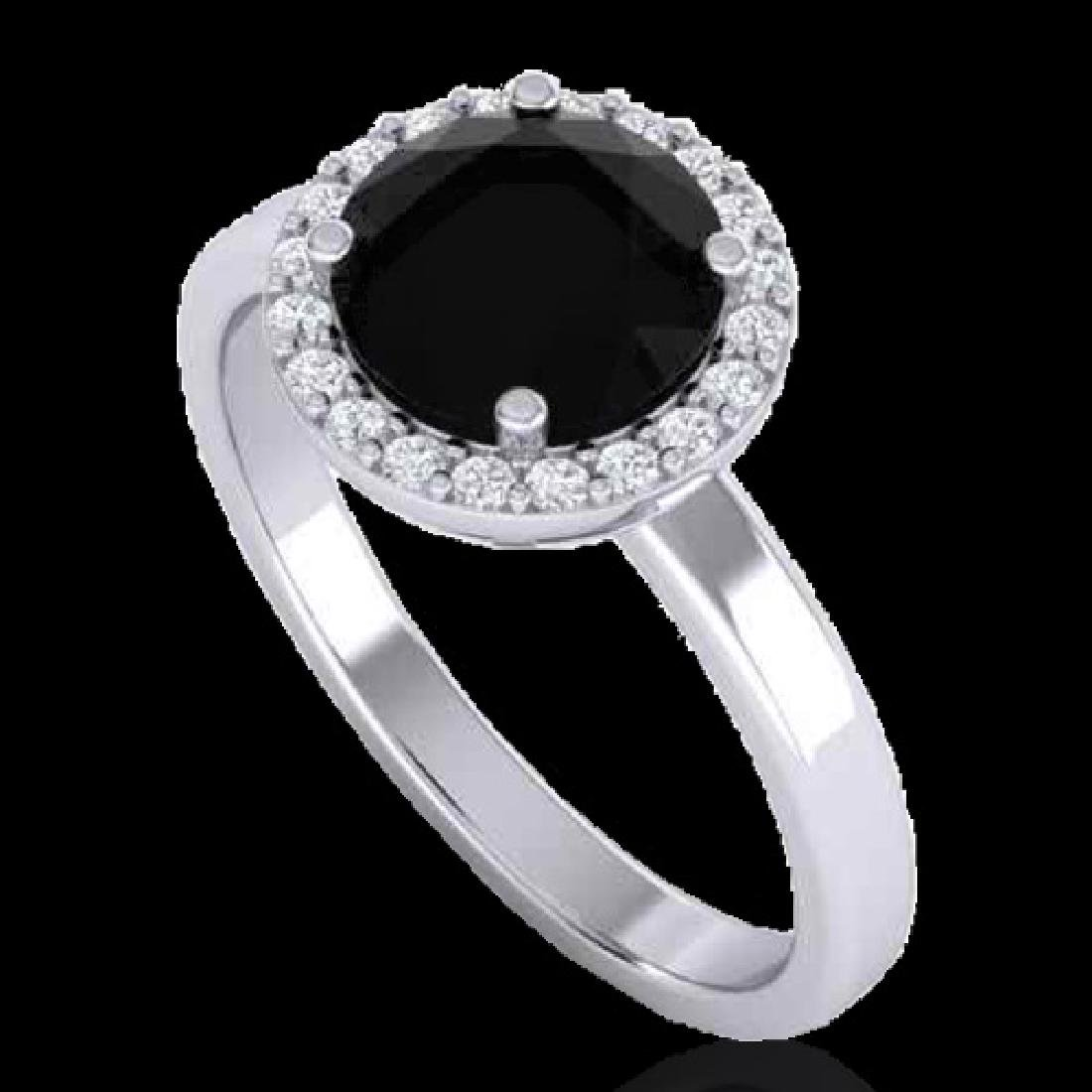 2 CTW Halo VS/SI Diamond Micro Pave Ring Solitaire 18K - 2