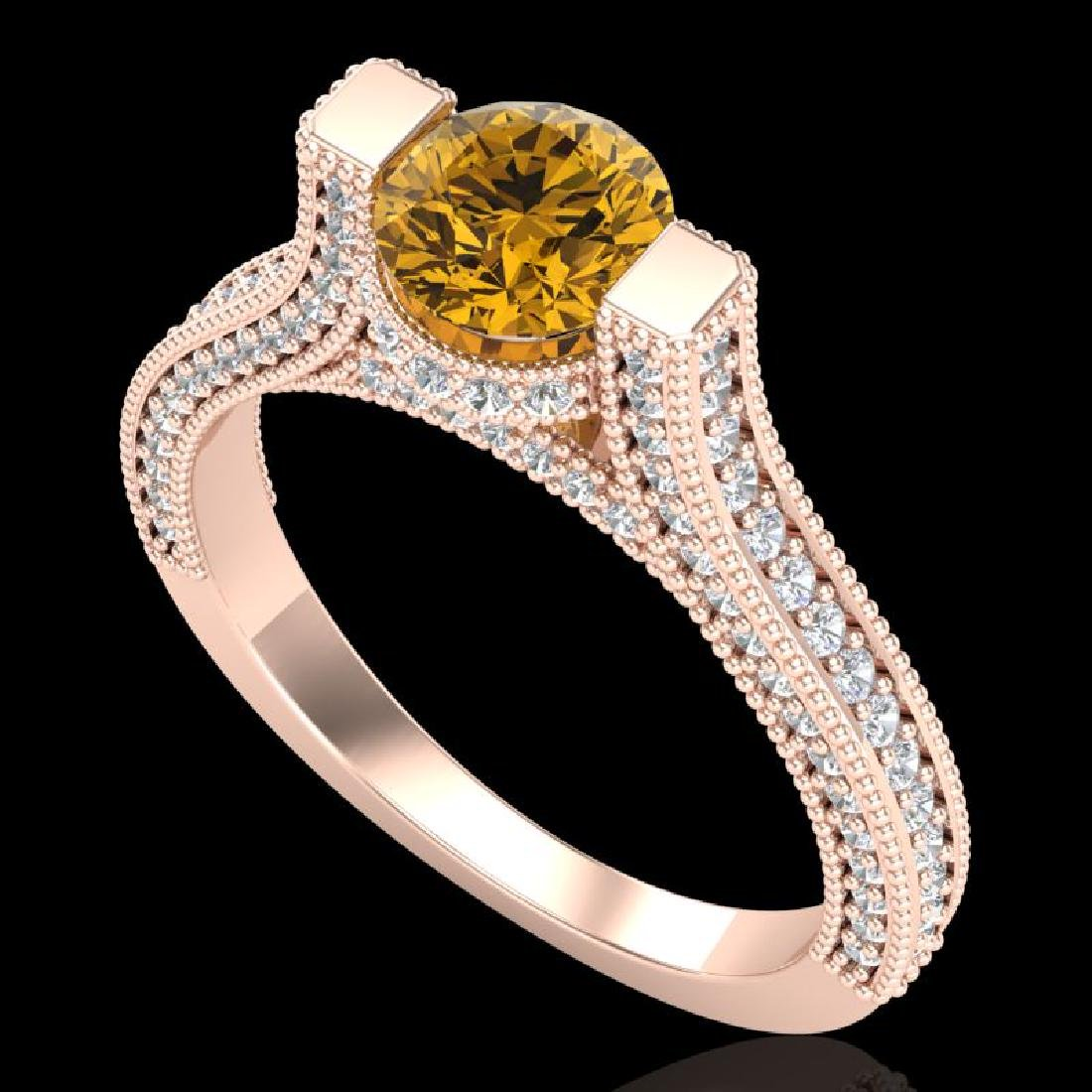 2 CTW Intense Fancy Yellow Diamond Engagement Micro