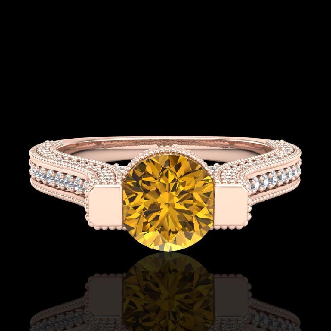 2 CTW Intense Fancy Yellow Diamond Engagement Micro - 2