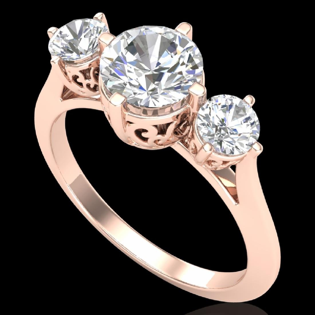 1.51 CTW VS/SI Diamond Solitaire Art Deco 3 Stone Ring