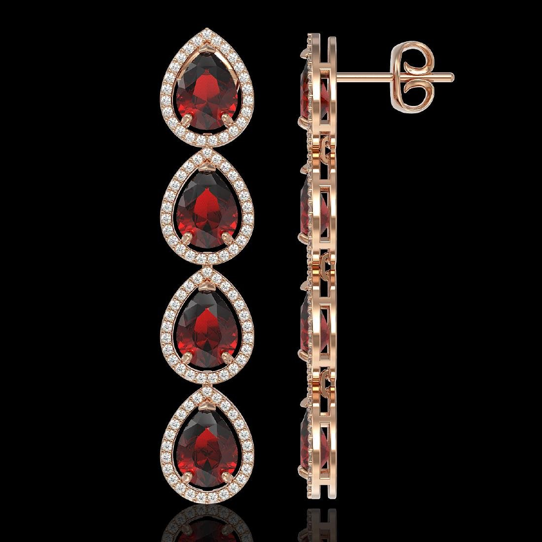 9.25 CTW Garnet & Diamond Halo Earrings 10K Rose Gold - 2