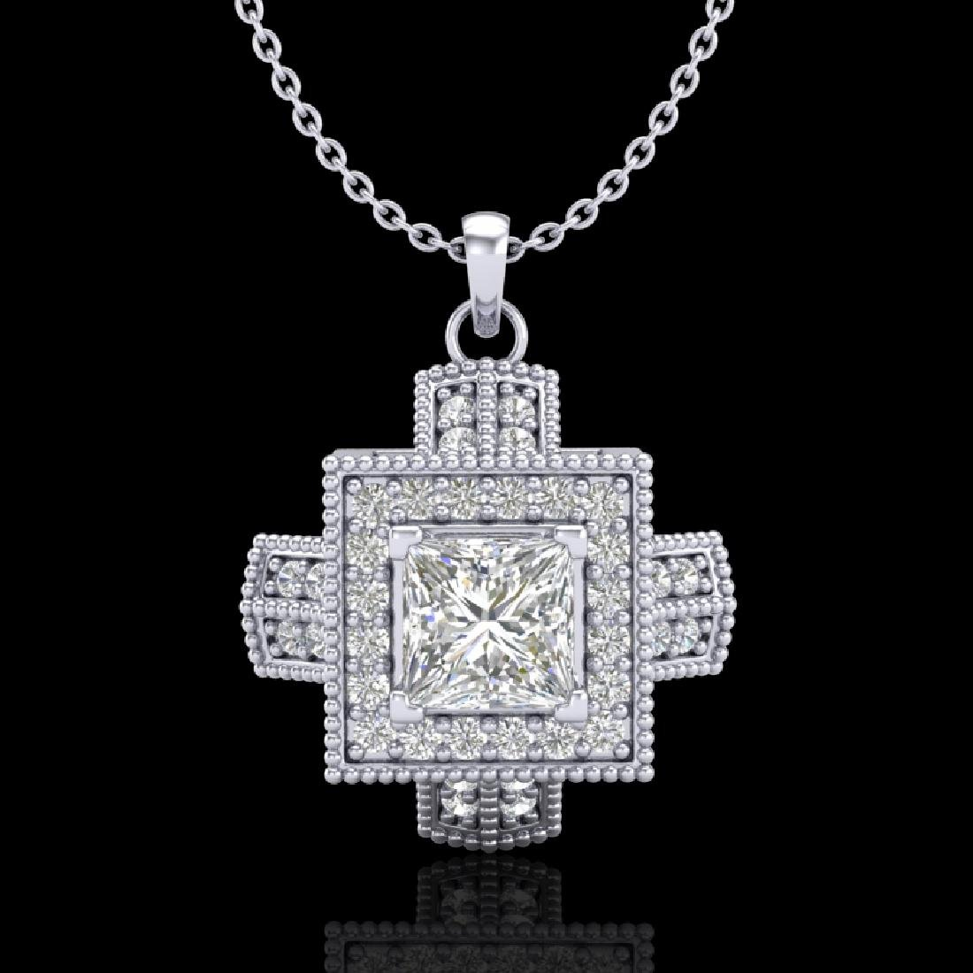 0.84 CTW Princess VS/SI Diamond Micro Pave Necklace 18K